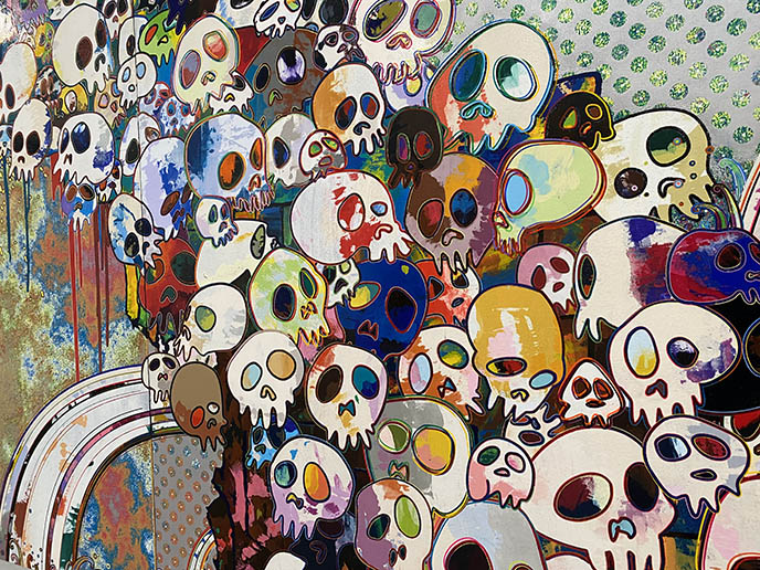 takashi murakami rainbow skulls paintings japanese pop art