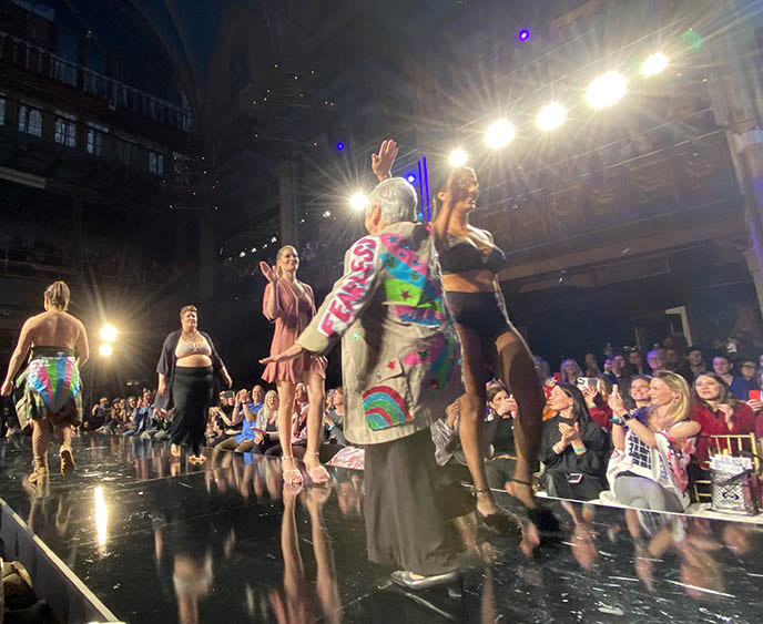 Breast cancer survivors model lingerie at Ny Fashion week