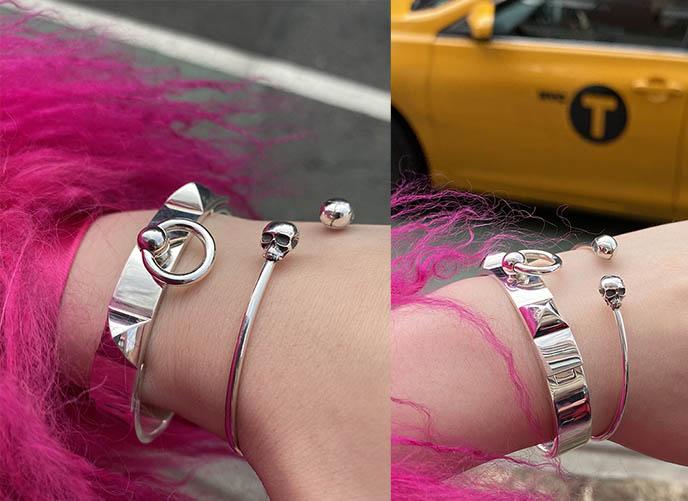 stephen einhorn skull jewelry, dainty skulls bangle silver bracelet
