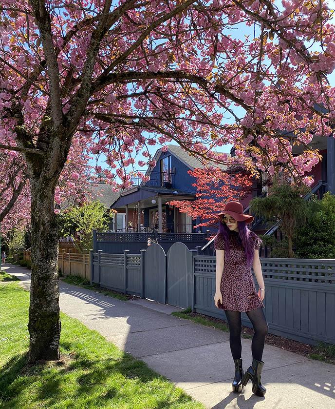 cherry blossom season dress sakura flowers pink spring feminine fashion