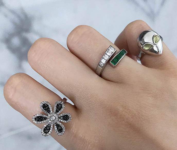 alina abegg alien rings, black diamond flower ring diamonds