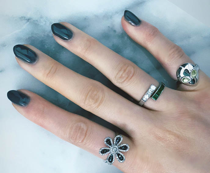 black diamond ring flower petals, alina abegg alien jewelry