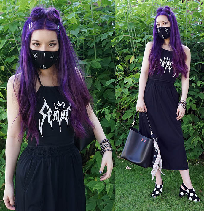 goth covid outfits, gothic face masks lip service