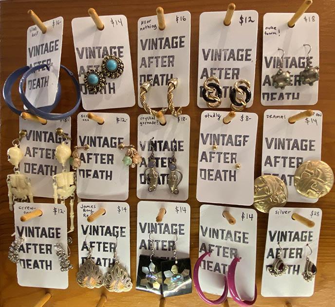 vintage after death earrings Canadian designers
