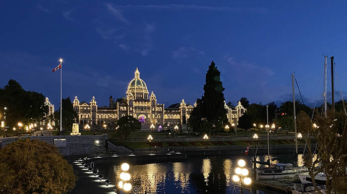 victoria parliament buildings lights nighttime