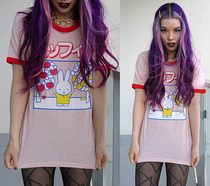 pink chunky face framing highlights, japanese miffy t-shirt