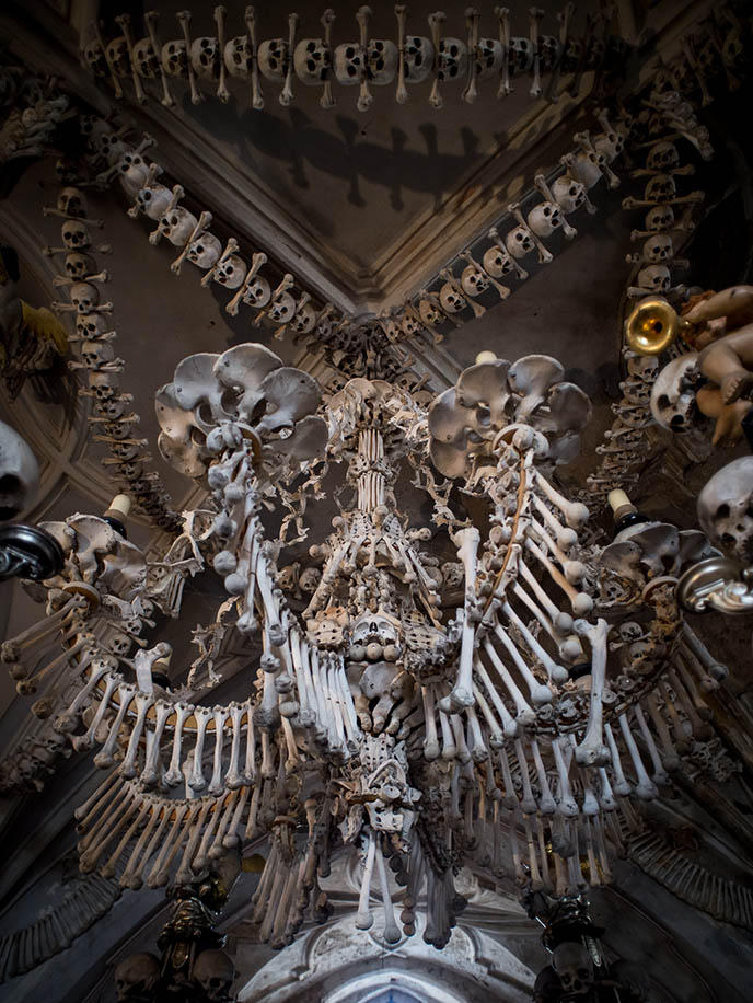 bone chandelier sedlec cathedral skeleton church