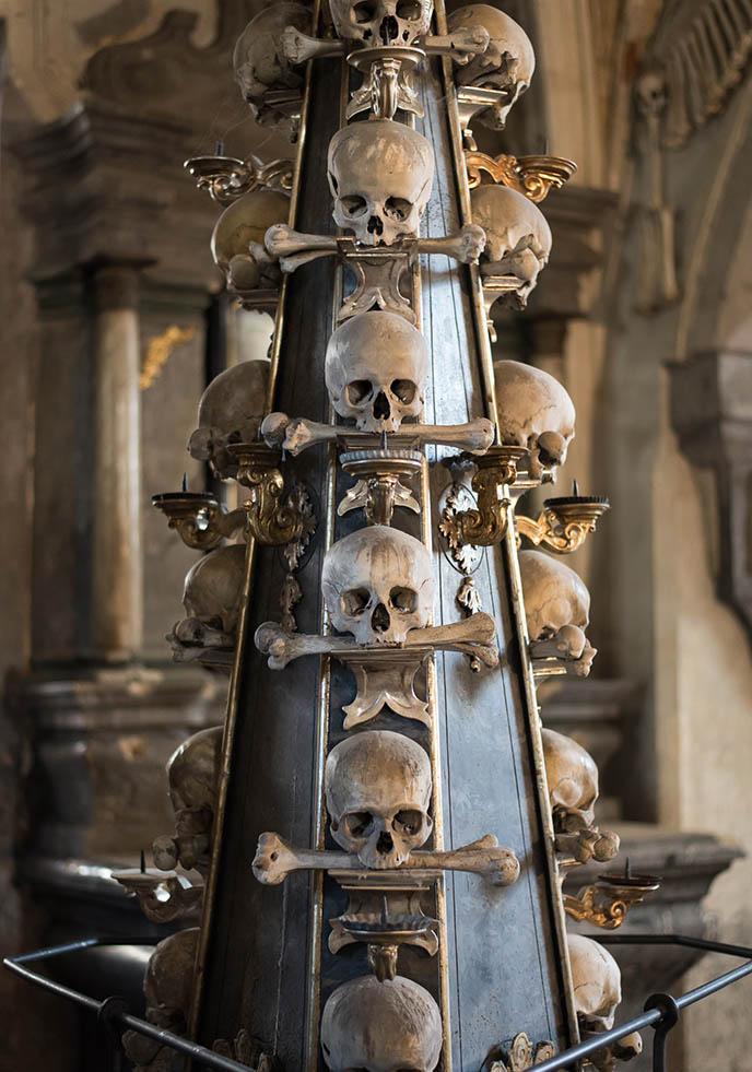 creepy horror bone church sedlec ossuary human skulls decor