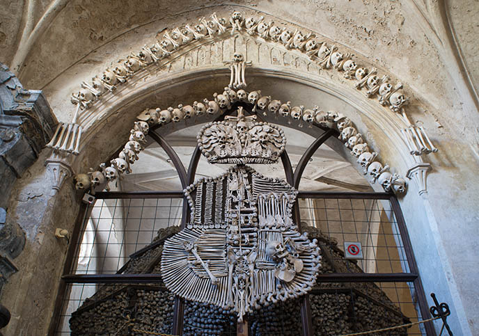 sedlec ossuary cemetery skulls prague weird church