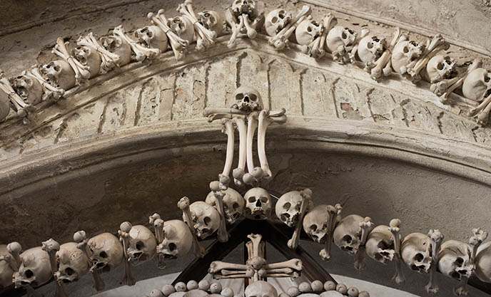 heavy metal church, bones entrance sedlec ossuary