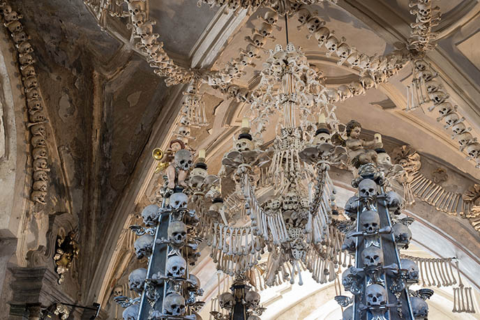 sedlec ossuary interior skulls scary church