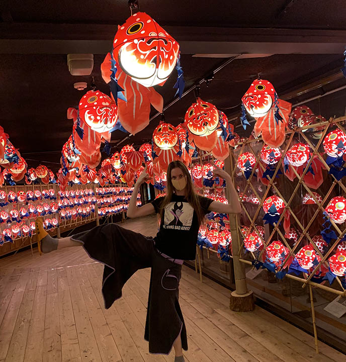 japanese traditional red lantern festival display