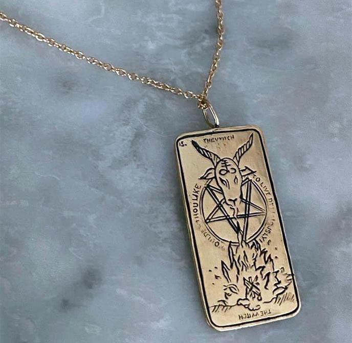 sofia zakia tarot cards pendants jewelry witch satan baphomet devil