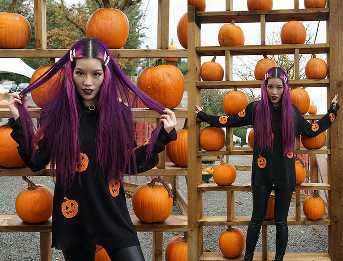 long purple hair fashion blogger vancouver canada canadian
