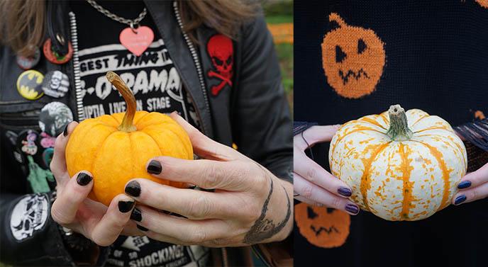 goth halloween designer sweaters pumpkins design
