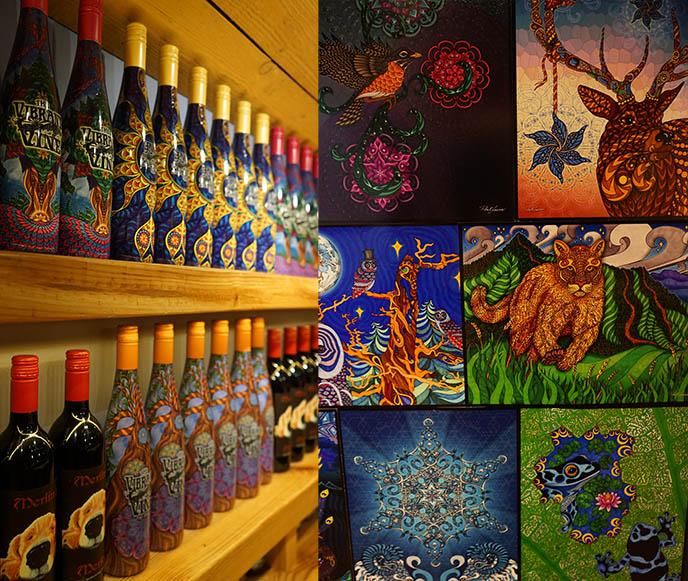 vibrant wine bc bottles labels art