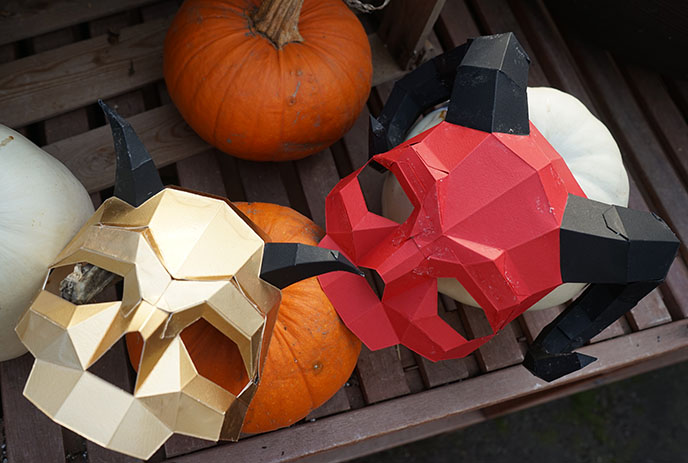gold short horned skull mask papercraft 3d world