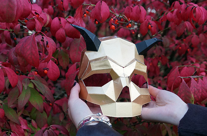 gold horns mask, metallic devil lucifer masks