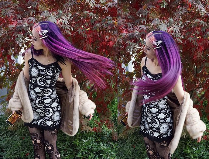 gothic purple pink dyed hair, e-girl hairstyles tiktok