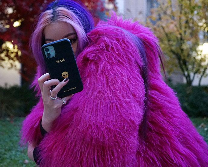 pink mongolian lamb fur jacket skandinavik furs