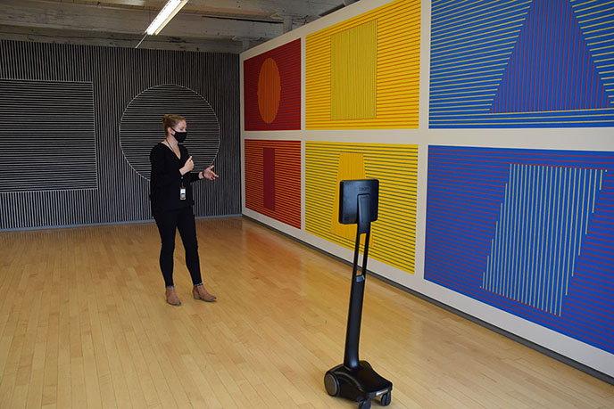 robot looking at art remote virtual tour