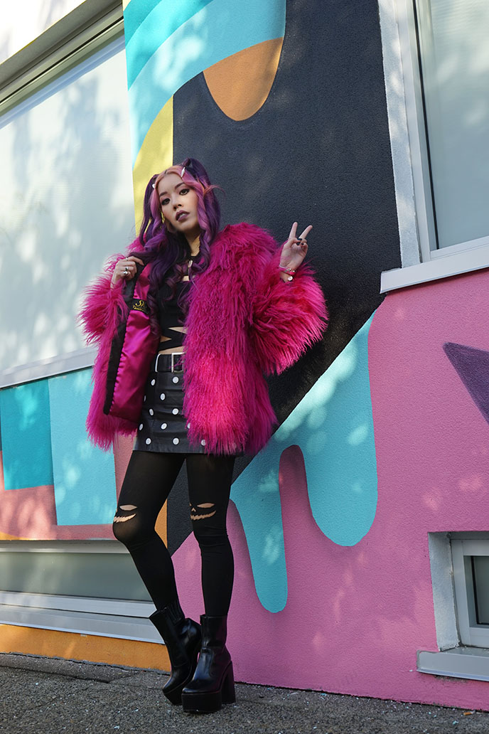 pink mongolian lamb fur coat shaggy colorful jacket
