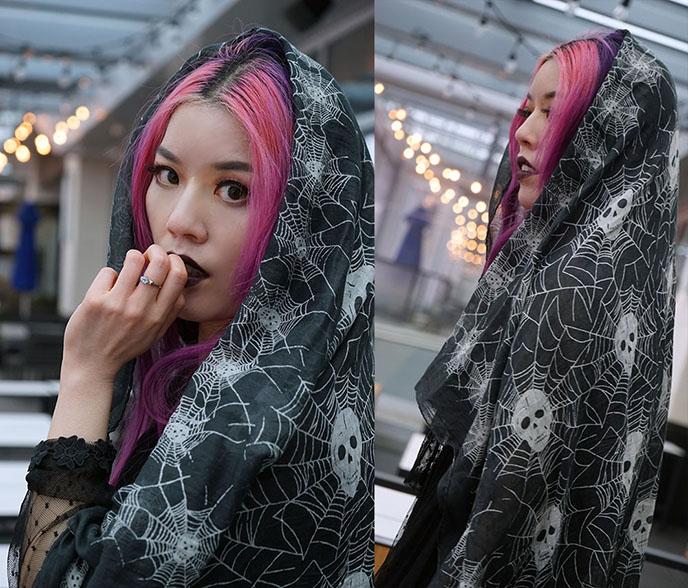 gothic scarves spiderweb skull print cotton