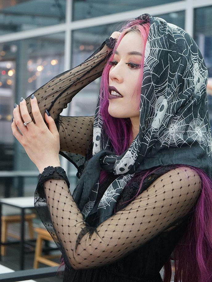 cobweb spider skulls gothic scarves head scarf