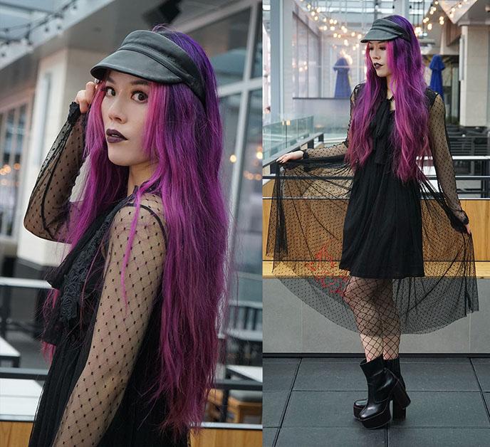 black leather visor cap, apiologist goth sheer dress