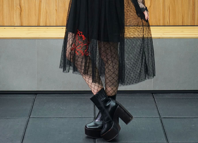 funeral mourning dress, jeffrey campbell mexique ankle boots