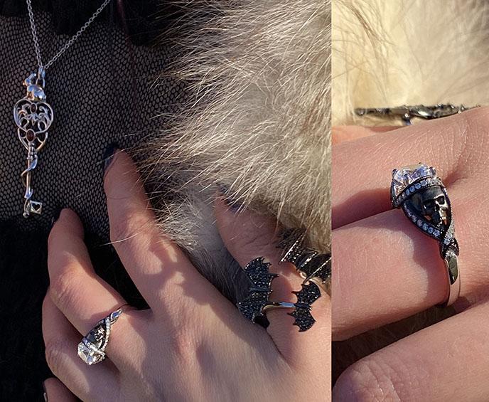 St. Noir ring, shadows bat rings sapphire studios