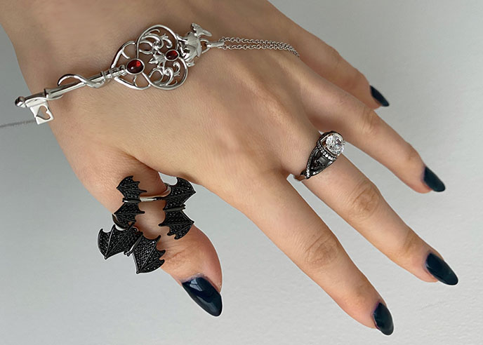 sapphire studios alice wonderland pendant, skull ring bats jewelry