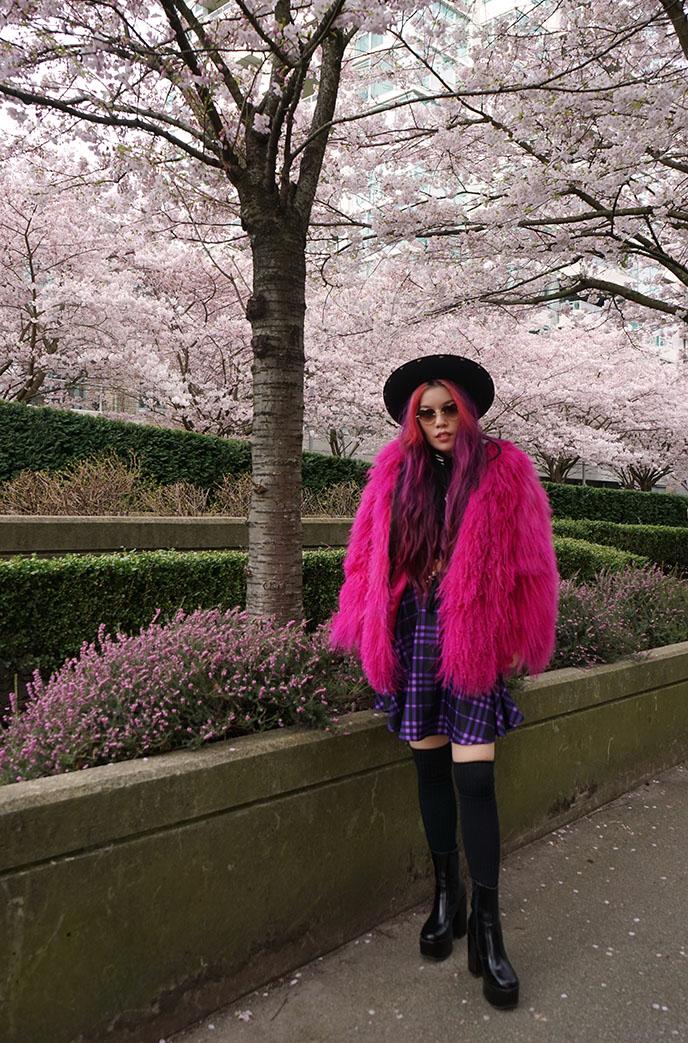 japan cherry blossom trees photoshoot modeling harajuku girl