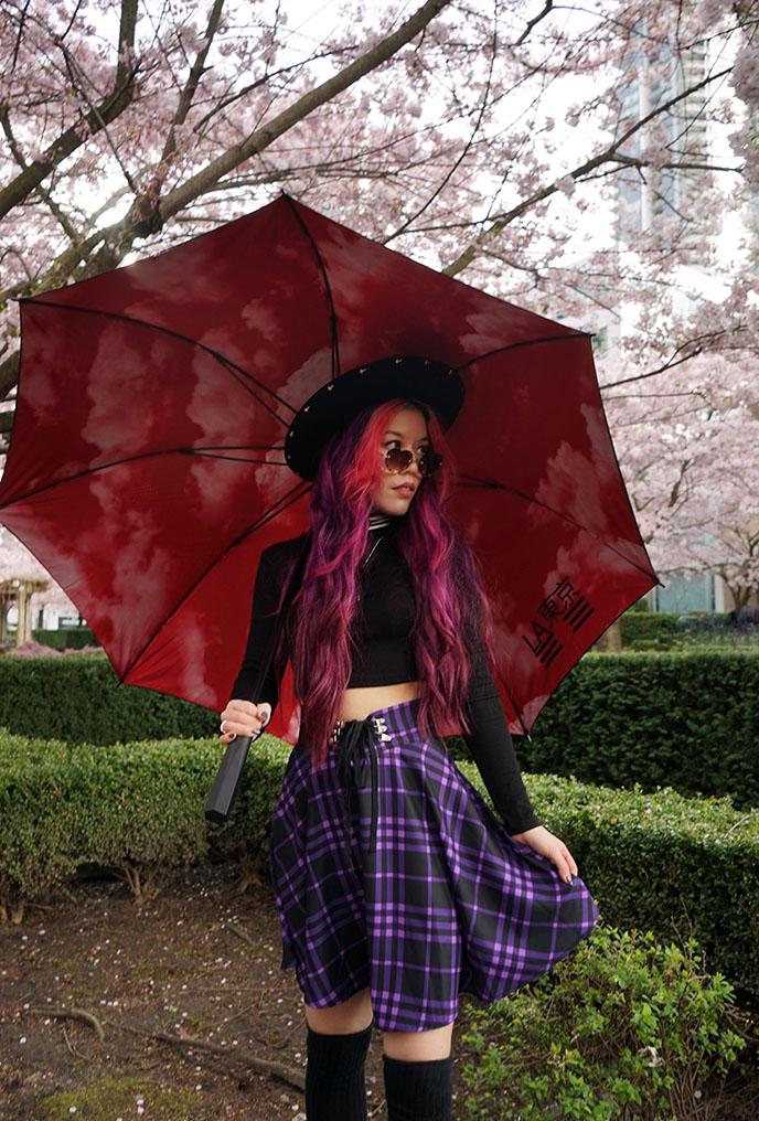 big japanese umbrella red inside goth latokyo