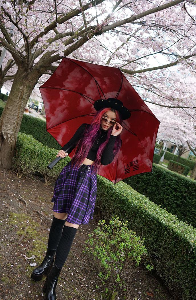 purple black tartan plaid skirt ninja cosmico