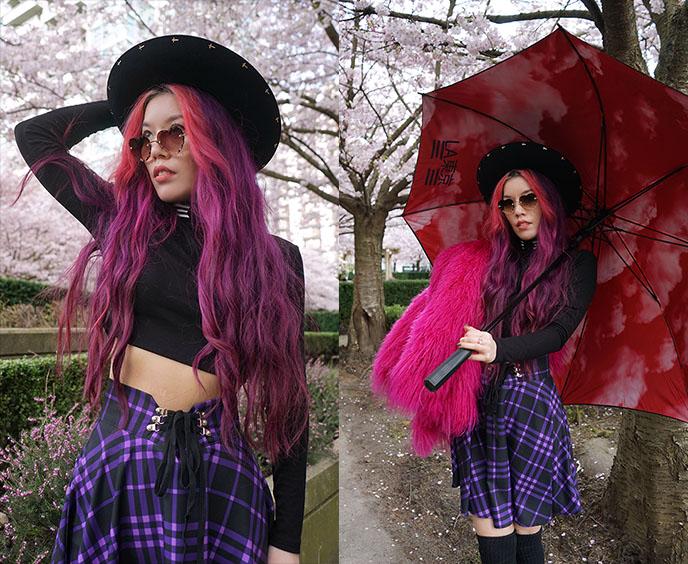 long pink purple hair heart sunglasses chloe rosie
