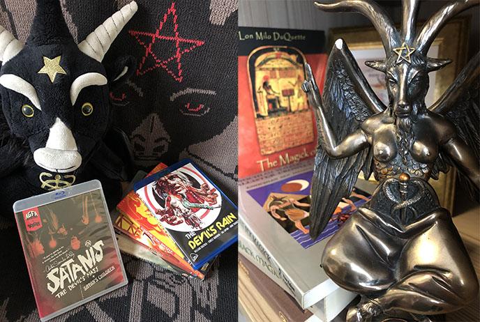satanic books films baphomet goat statue satanist altar decor