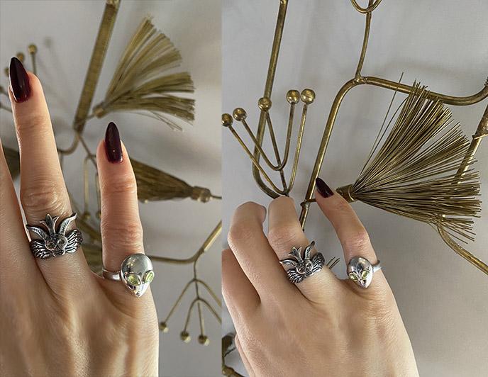 satanic temple baphomet ring, arcana obscura rings jewellery salem
