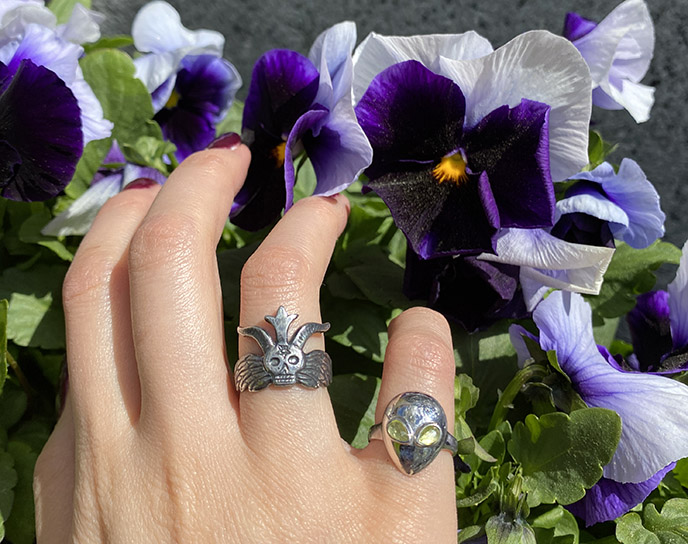 alina abegg alien pink ring, satanic temple silver ring horned devil jewelry