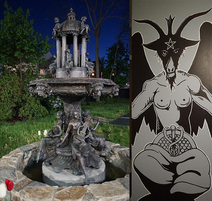 the satanic temple headquarters exterior outside fountain