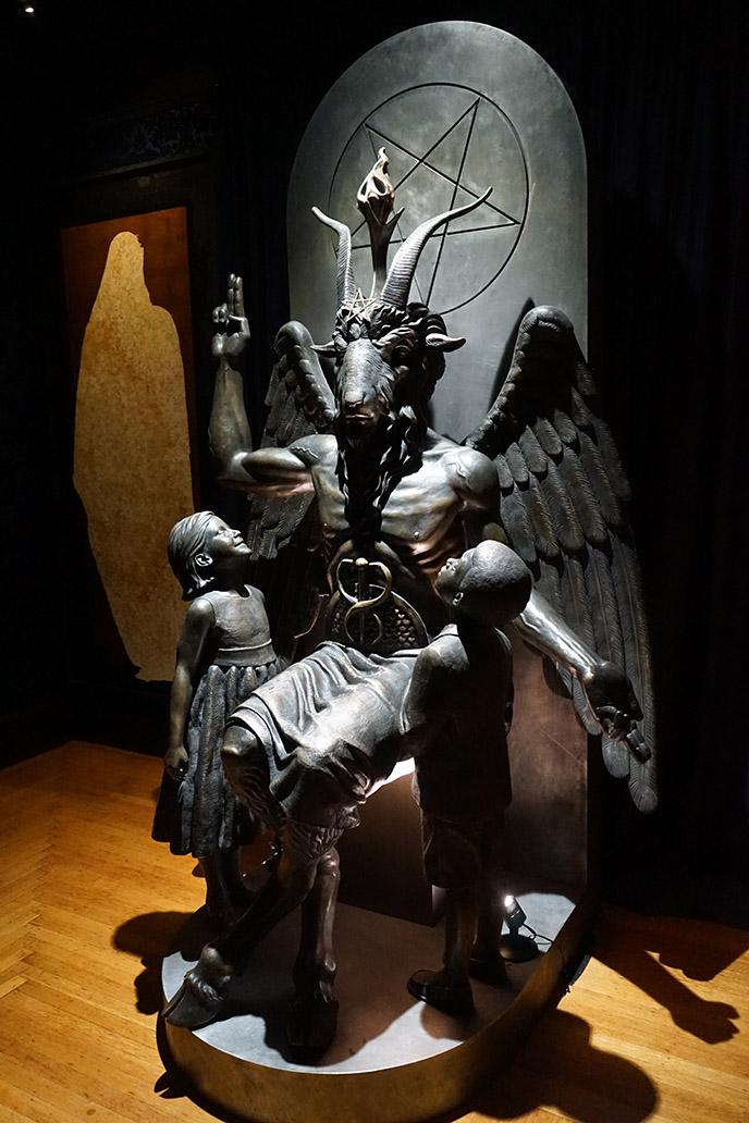 baphomet statue the satanic temple salem goat headed monument sabrina