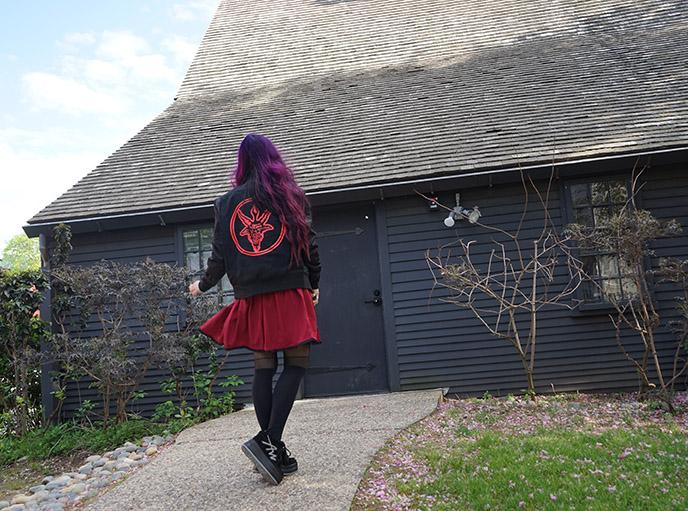 satanic bomber jacket baphomet logo design witch house salem