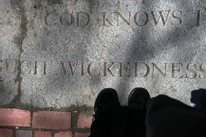 Salem Witch Trials Memorial slabs headstones tombs