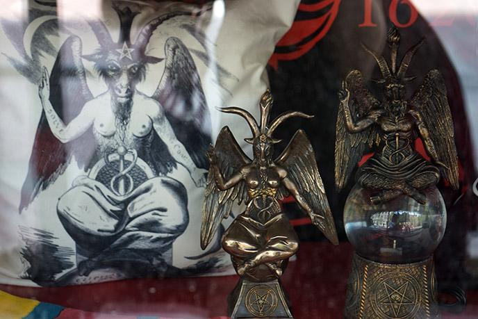 bronze baphomet statues satanic icons