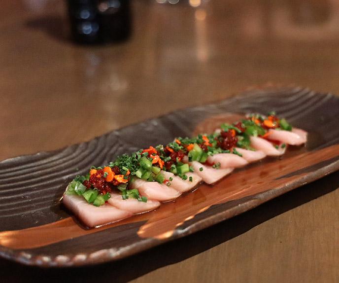 cloak and petal hamachi carpaccio menu food fish