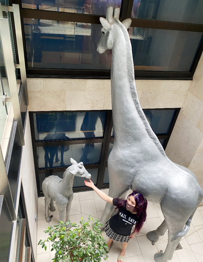 giant giraffe statue lobby andaz san diego hotel