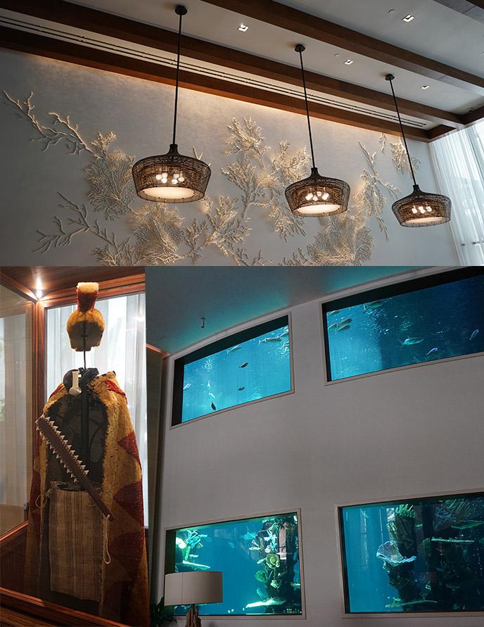 alohilani resort lobby oceanarium fish statue king costume