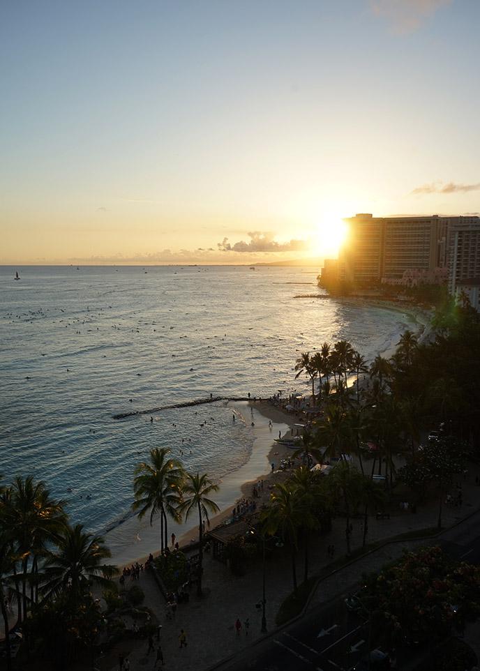 sunset balcony view waikiki beach nightfall honolulu