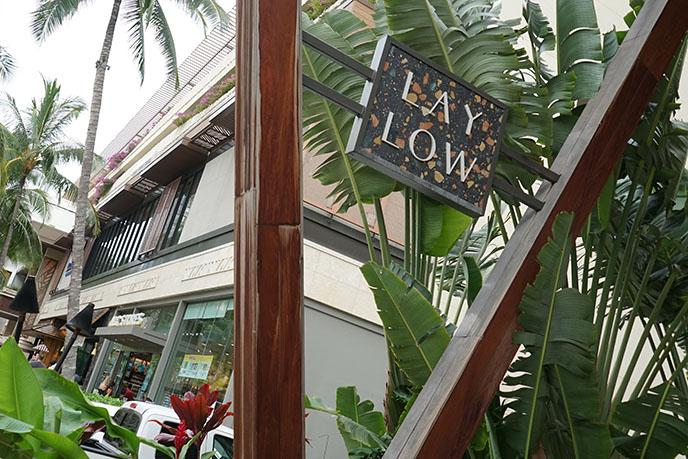 lay low hotel exterior logo sign hawaii
