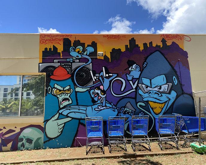 gorilla street art wall murals Kakaako